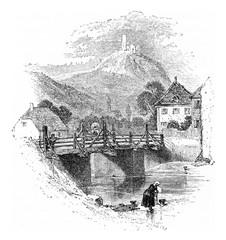 Tower Windeck, vintage engraving.