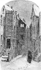 The former Judengasse, vintage engraving.