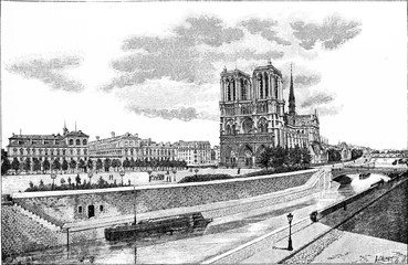 The Hotel-Dieu, the Parvis Notre-Dame and the Pont au Double, vi