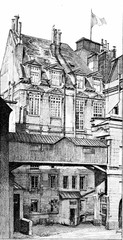 Old facade of the Palace of Justice, vintage engraving.