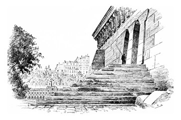 The stairs to the platform and suite of the Samaritan woman, vin