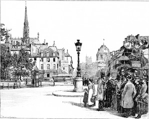 Place and Pont Saint-Michel, vintage engraving.
