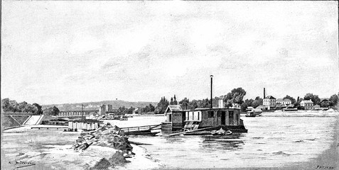 To the west of Paris: the Quai de Javel, vintage engraving.