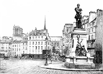 Place Maubert and statue of Etienne Dolet, vintage engraving.