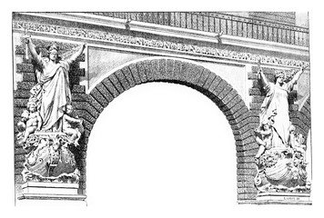 Classic style stone allegorical sculptures on the arch corners o
