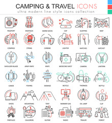 Vector camping nature adventure ultra modern color outline line icons for apps and web design.