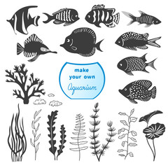 Vector set of different fishes and decorations for making your own aquarium. Tropical fish and seaweeds silhouettes isolated on white background.