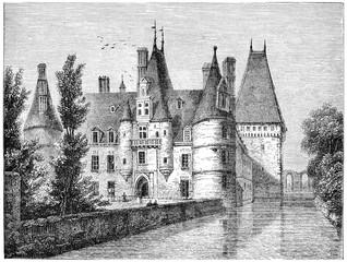 Chateau de Maintenon, vintage engraving.