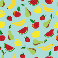 Colorful doodle fruits seamless pattern. Vector fruit background