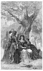 Madame de Maintenon and students of Saint-Cyr, vintage engraving