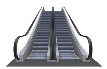 Double realistic vector escalator isolated on the white background. Up moving elevator.