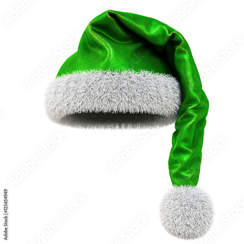 0b61bccdee9fe Santa Claus green hat isolated on white background. 3D illustration ...