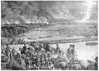 The French army arising out of the island of Lobau, vintage engr