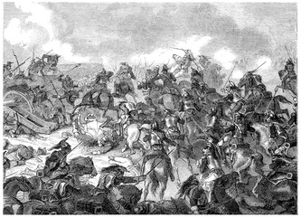 Battle of Borodino, vintage engraving.