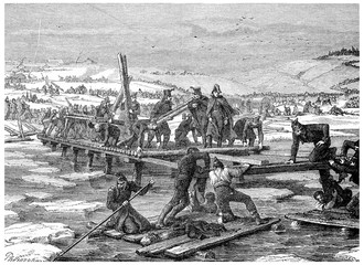 Construction of bridges over the Berezina, vintage engraving.
