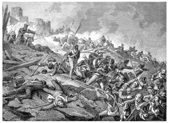 Heroic defense of the castle of Burgos, vintage engraving.