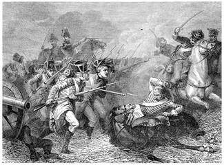 Conscripts of 1813 Combat Weissenfels, vintage engraving.