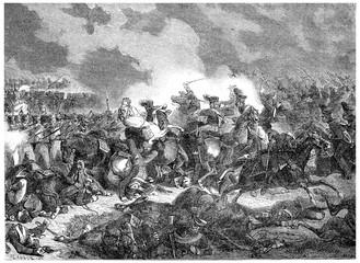 Battle of Bautzen, vintage engraving.