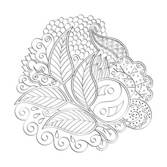 Abstract mehndi shape. Isolated figure. Many details, curved doodles. Binary black and white line art. Vector.