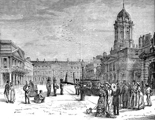 The castle courtyard, vintage engraving.
