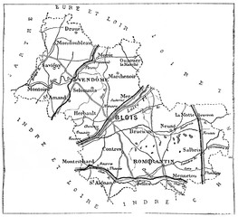 Map of the department of Loir-et-cher, vintage engraving.