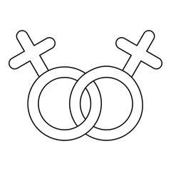 Lesbian love sign icon. Outline illustration of lesbian love sign vector icon for web