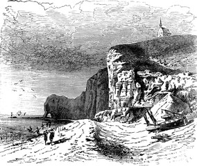 The beach of Etretat, vintage engraving.