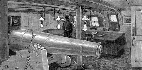 Life on board. The dining room, vintage engraving.