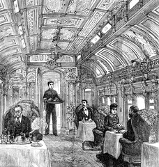 The cars of the Pacific Railroad. The dining car, vintage engrav
