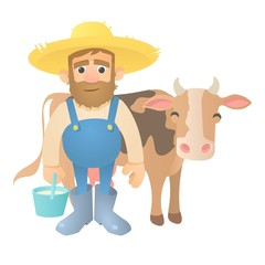 Farmer with cow icon. Flat illustration of farmer with cow vector icon for web