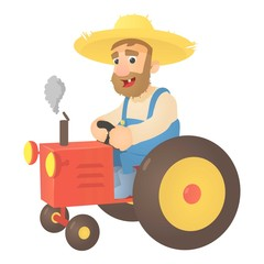 Farmer on tractor icon. Flat illustration of farmer on tractor vector icon for web