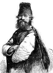 Peasant of Smolensk, vintage engraving.