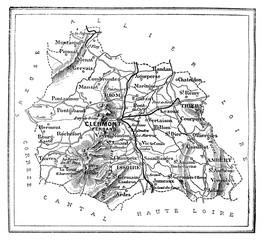 Map of the department of Puy-de-Dôme, vintage engraving.