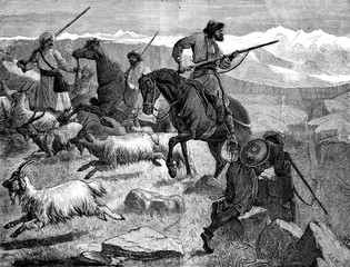 Afghanistan. A skirmish in the past of Khyber, vintage engraving
