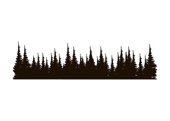 monochrome panoramic forest with pines vector illustration
