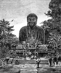 Religious Art in Japan. The giant statue of Buddha, vintage engr