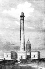 Lighthouse barfleur, Department of Manche, vintage engraving.