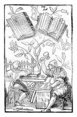 A bookbinder's workshop in the middle ages, vintage engraving.