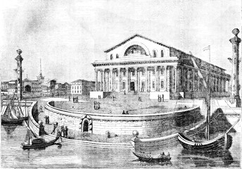 St. Petersburg Stock Exchange, vintage engraving.