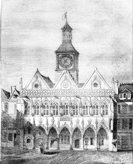 View of the City Hall of Saint Quentin, Aisne department, vintag