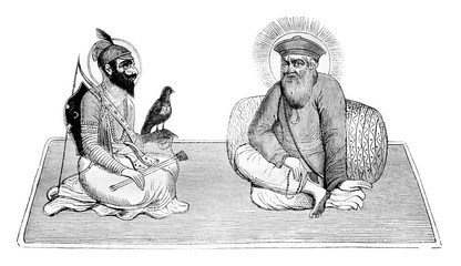 Guru Singh and Baba Nanak, founder of Sikh religion, and after a