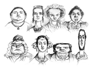 Different facial shapes, Types of caricatures, vintage engraving