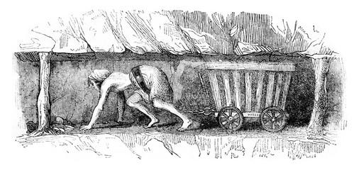 Girl dragging a wagon, vintage engraving.