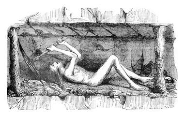 Young man employed in coal mining, vintage engraving.