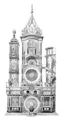 Strasbourg astronomical clock, vintage engraving.