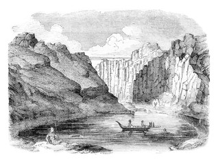Marquesas Islands, View of the Bay of Tahiti, vintage engraving.