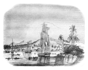 View of the Bay of Papeete and the island of the Queen, vintage
