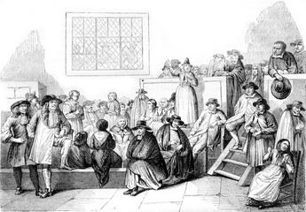 A Quaker meeting in the eighteenth century, vintage engraving.