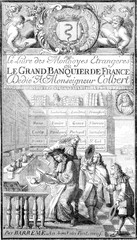 Frontispiece to the Book of foreign currencies, vintage engravin