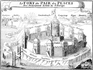 Barreme, Paris and the main shopping cities, vintage engraving.